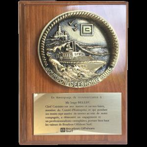 Matière : Bronze Socle : Bois Hauteur totale 250 mm Plaque de remerciements pour le Groupe Bourbon